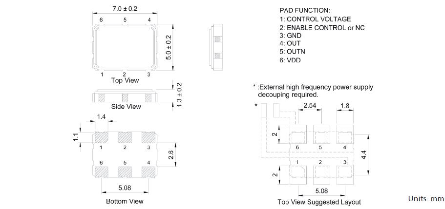 高密性台产晶振,6脚7050压控晶振,bk晶振